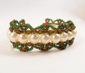 Pearls & Scallops Bracelet, Beading Tutorial in PDF