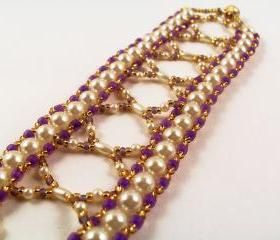 Pretty Pearls Bracelet Pattern, Beading Tutorial in PDF