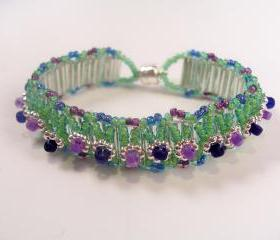 Flower Garden Bracelet Pattern, Beading Tutorial in PDF