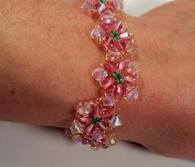 Crystal Flower Bracelet, Beading Tutorial in PDF