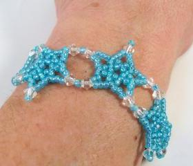 Five Point Stars Bracelet Pattern, Beading Tutorial in PDF