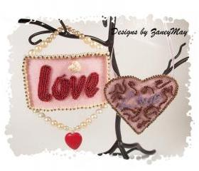 Signs of the Season 'Love' Ornaments, Beading Tutorial in PDF
