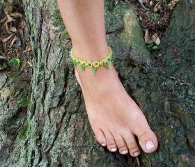 Daisy Beaded Anklet Pattern, Beading Tutorial in PDF