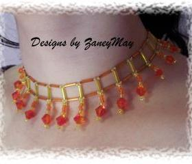 Fire Opal Necklace Pattern, Beading Tutorial in PDF