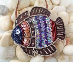 Tropical Fish Necklace or Pin Pattern, Beaded Embroidery Tutorial in PDF