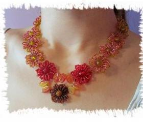 Fall Fantasy Necklace, Beading Tutroial in PDF