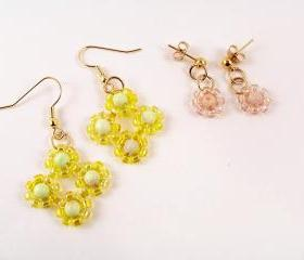Daisy Earring Patterns, Beading Tutorial in PDF