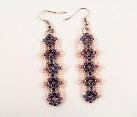 Tiny Diamond Earring Pattern, Beading Tutorial in PDF