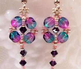 Dangle Diamond Earring Pattern, Beading Tutorial in PDF