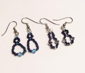 Dew Drop & Crystal Drop Earring Patterns, Beading Tutorial in PDF