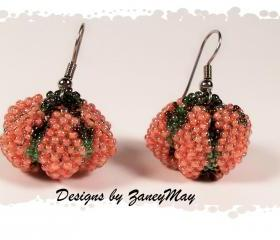 Tiny Pumpkin Earrings, Beading Tutorial in PDF