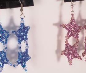 Five Point Star Earrings - Pattern, Beading Tutorial in PDF