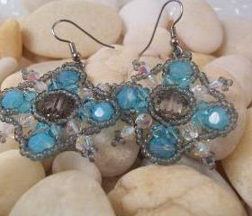 Crystal Snowflake Earrings, Beading Tutorial in PDF