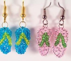 Flip Flop Earring Pattern, Beading Tutorial in PDF