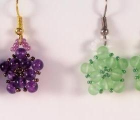 Lil Bundle of Flowers Earring Pattern, Beading Tutorial in PDF
