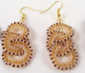 Circle and Ruffle Earring Pattern, Beading Tutorial in PDF