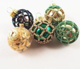 Beaded Christmas Ornament - Pattern 1 Net Beading, Beading Tutorial in PDF