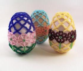 Spring Flower Beaded Easter Egg Pattern, Beading Tutorial in PDF