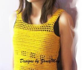 Easy Summer Tank Top, Crochet Pattern in PDF