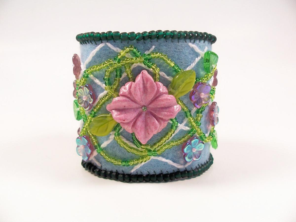 Lattice Flower Embroidery Cuff Bracelet, Beading Tutorial in PDF