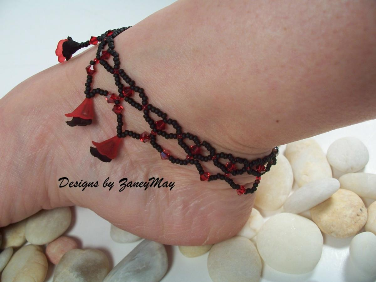 Little Hearts Anklet and Gypsy Anklet Pattern, Beading Tutorial in PDF