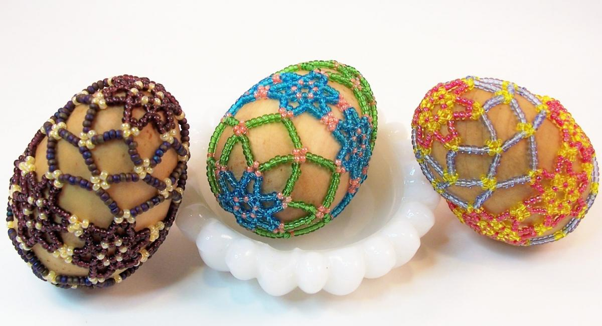 Beaded Easter Egg Pattern, Beading Tutorial in PDF